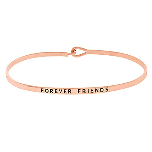 Rosemarie Collections Women's Thin Hook Bangle Bracelet Forever Friends Graduation Gift (Rose Gold Color)