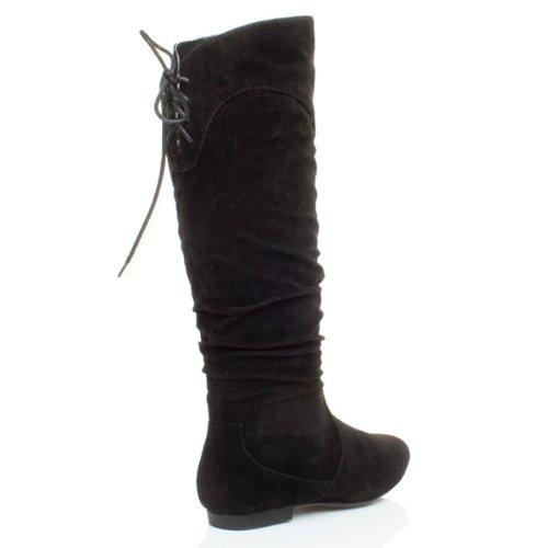 Damen Flach Kleiner Absatz Reißverschluss Schnüren Pirate Wade Stiefel Größe Schwarz Wildleder