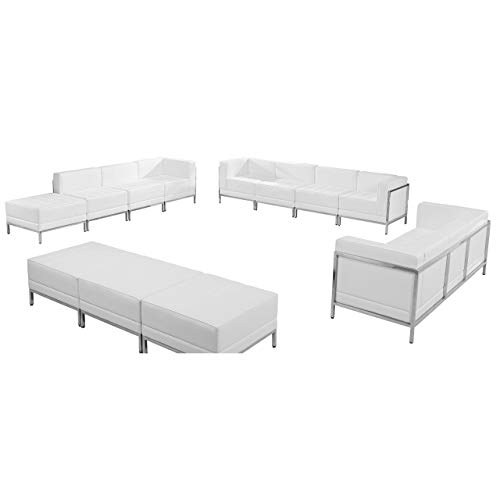 (Flash Furniture HERCULES Imagination Series Melrose White Leather Sofa, Lounge & Ottoman Set, 12 Pieces)