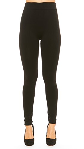 Premium Winter Leggings for Women Cotton Blend Seamless French Terry Fleece Pants (Small, Black)