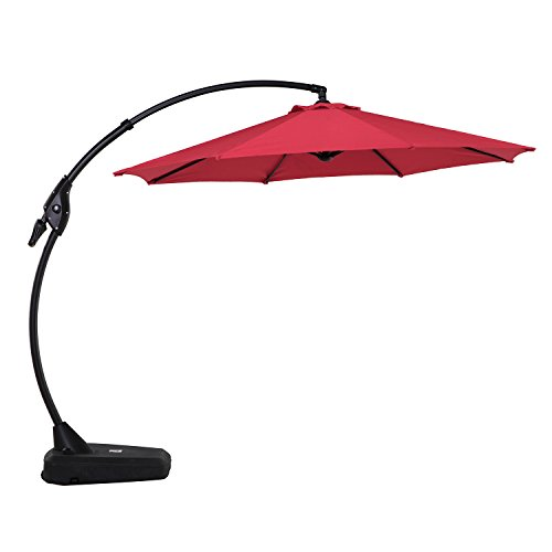 Grand patio 10 FT Cantilever Umbrella with Black Heavy Base, Offset Umbrella for Patio Porch Lawn with Crank Lift(Red)
