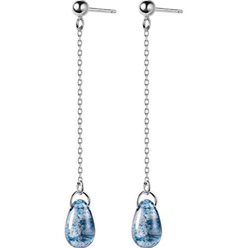 megko 925 Sterling Silver Chain Tassel Earrings Droplet Light Blue Crystal Ear Line Dangle Earring Ear Line ()