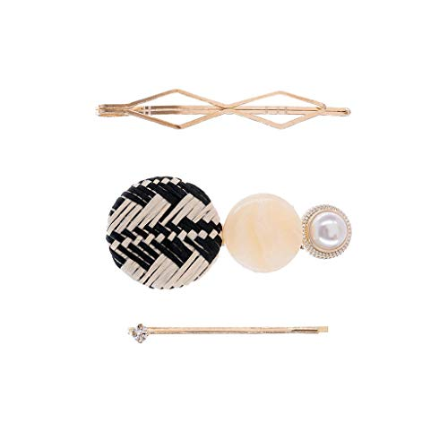 -  Orcbee  _Rattan Hair Clips Acetate Board Acrylic Block Pearl Hairpin Side Clip Gift for Girls Women (Black)