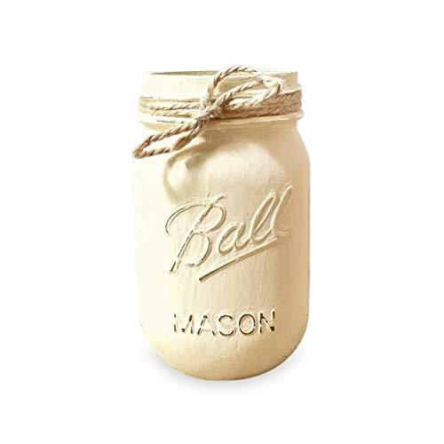 IVORY Painted Ball Mason Jar, 16 oz. Pint, Painted and Distressed Mason Jar, Regular -