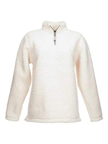 J. America Womens Epic Sherpa 1/4 Zip Sweatshirt (JA8451) -Cream -2XL