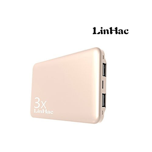Battery Pack Dvd (LinHac HA104 10000mAh Portable Charger,High Capacity Power Bank,External Battery Pack With Dual USB For iPhone7 7Plus 6s 6 Plus, iPad, Samsung Galaxy and More(Gold))