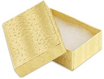 100 Gold Cotton Filled Jewelry Display Gift Boxes 3x2