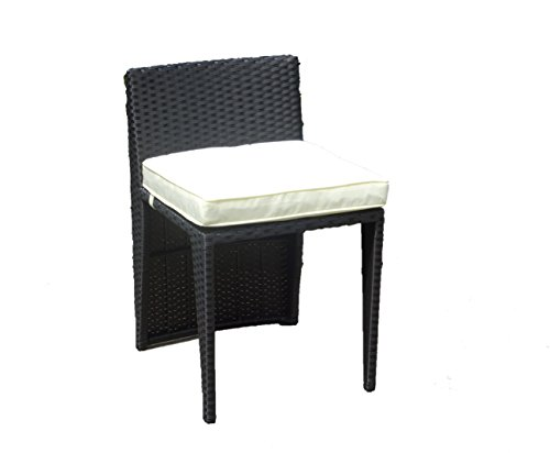 SunBear Furniture Patio Outdoor Garden Wicker Side Chair, Black by SunBear Furniture