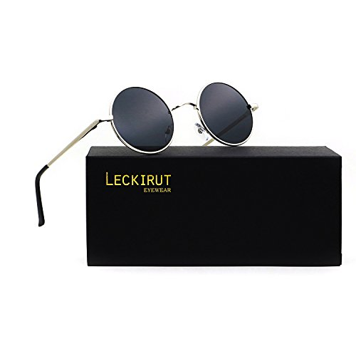 Leckirut Women Men Small Retro Lennon Inspired Style Polarized Sunglasses Mirrored Lens Circle Glasses silver frame/gray - Kardashian Glasses Kourtney