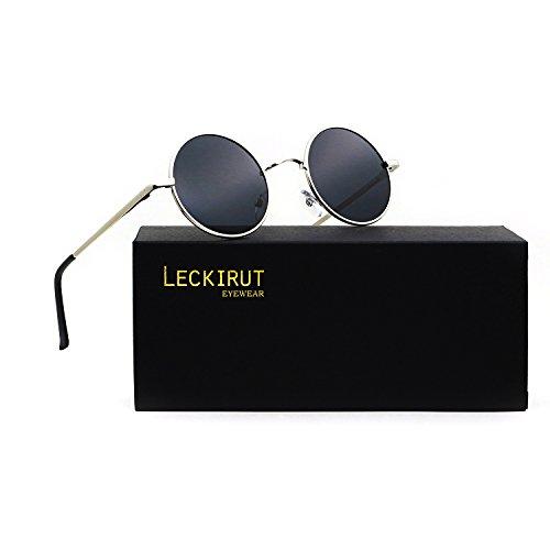 Leckirut Women Men Small Retro Lennon Inspired Style Polarized Sunglasses Mirrored Lens Circle Glasses silver frame/gray - Sale Snooki For Sunglasses