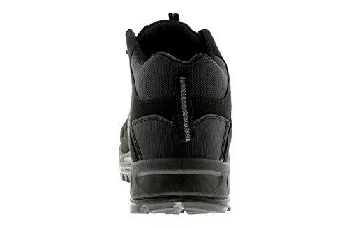 X-Hiking Hombre Sintético y Malla Botas de Senderismo Seis Orificios Cierre DE Encaje con Un Acolchado Cuello Diseño Zig-Zag EN el Lateral Wall Y Tirar Etiqueta a La Tacón - Negro - GB