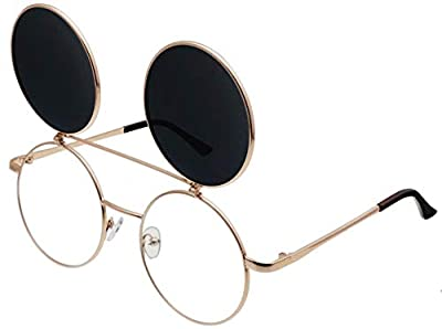 J&L Glasses Retro Flip-Up Round Goggles Seampunk Sunglasses