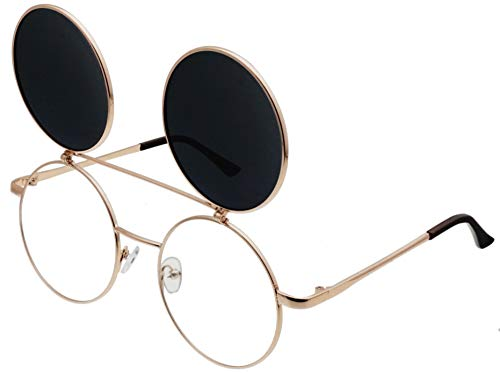 J&L Glasses Retro Flip-Up Round Goggles Seampunk Sunglasses (Golden,Black, ()