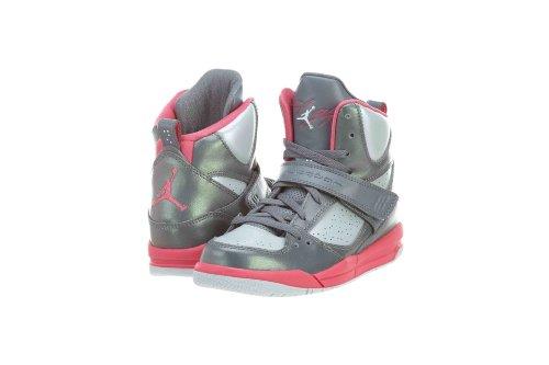 Ps Jordan Flight - Jordan Flight 45 High PS Cool Grey/White/Pink Sneaker Big Kids Shoes US Size 1Y