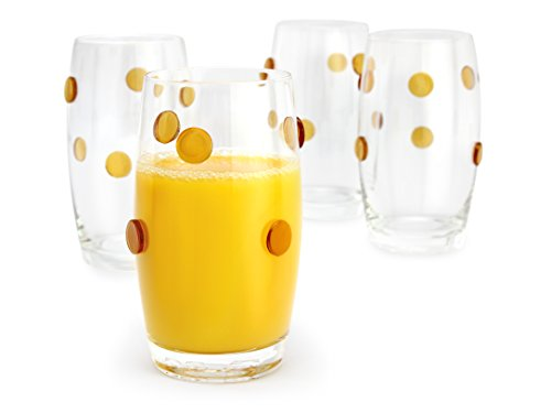 Highball Glass Base - GAC Heavy Base Highball Glasses Set of 4 Unique Glass Tumblers - Drinking Glasses with Gold Dots for Good Grips - 14oz Fun Beverage Glasses Set for All Beverages