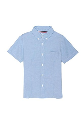 French Toast Big Girls' Short Sleeve Button Down Oxford with Darts, Light Blue, 20