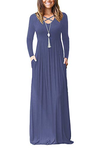 LILBETTER Womens Winter Long Sleeve Casual Long Dresses with Pocket Empire Waist Maxi Dresses (Purple Grey, L)