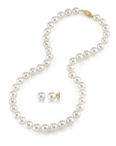 THE PEARL SOURCE 14K Gold 7-8mm AAAA Quality Round White Freshwater Cultured Pearl Necklace & Earrings Set in 18