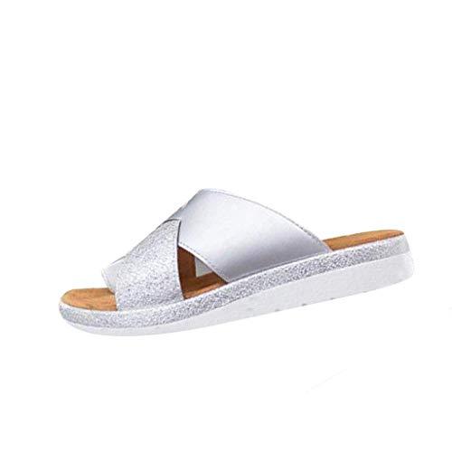 XZTZ Women Comfy Platform Sandal Shoes for bunions -2019 Newest Comfortable Ladies Sandal Shoes Summer Beach Travel Shoes Fashion Sandals (US 6.5(38), Style 2 Silver)