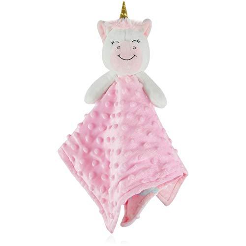BORITAR Baby Security Blanket for Girls Soft Minky Dot Fabric, Pink Unicorn Design Stuffed Plush Cuddle Newborn Blankie 14 - Security Blanket Princess