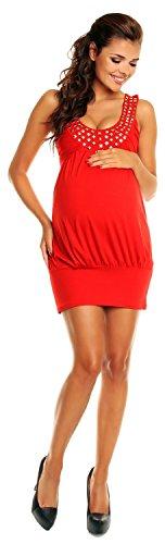 Zeta Ville - De Las Mujeres - Maternidad Burbuja Vestido Túnica Con Tachonado Escote - 024c (Rojo, 12/14)