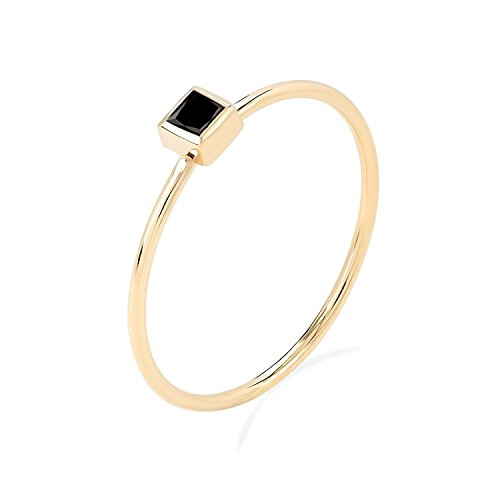 (TousiAttar Black Diamond Princess Cut -14K or 18k White Rose Yellow Gold Stackable - Tiny Stacking Ring for women- Unique Pure Handmade Jewelry Gift for Girls)