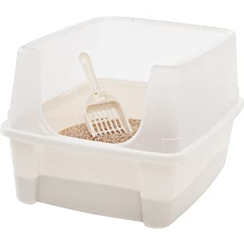 IRIS Open Top Cat Litter Box Kit with Shield and Scoop White  sc 1 st  Amazon.com : top litter box - Aboutintivar.Com