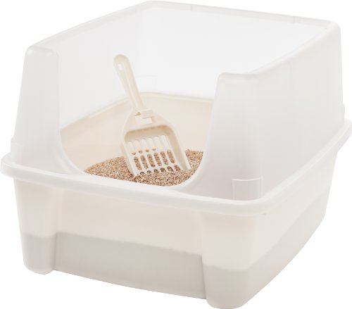 uncovered litter box with a scoop