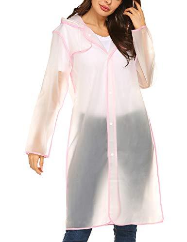 ZHENWEI Womens' Rain Coats with Hood EVA Portable Light Weight Rainwear Outdoor (Hood Coat)