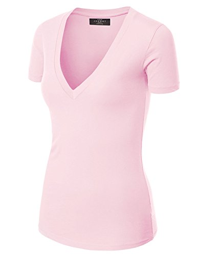 Made By Johnny WT3 Womens Basic Fitted Soft Short Sleeve Deep V Neck T Shirt S ()