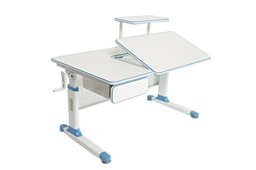 ApexDesk Little Soleil Dx 43'' Children's Height Adjustable Study Desk W/ Integrated Shelf & Drawer (Blue), Denim Blue by ApexDesk