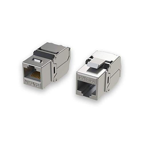 [LINKUP] RJ45 Connectors Cat6A (12 Pack) Shielded Keystone Jack Metal Die-Cast Field Modular Termination | 10G Easy Internet Tool Free Jacks | for Cat6A up to 22AWG Solid Bulk S/FTP ()