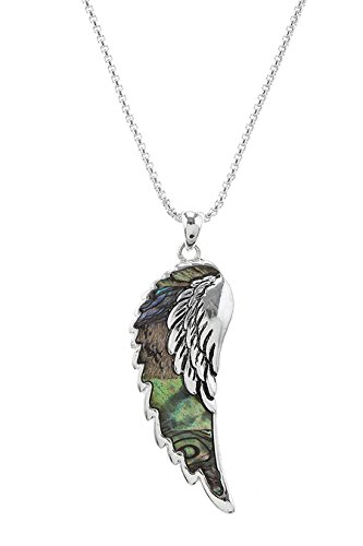 KARMAS CANVAS SHELL ACCENT ANGEL WING NECKLACE SET (Bangles Wooden Shell)
