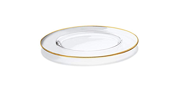 Charger Set of 2 Plate Barski Clear with Gold Rim Made in Europe European Glass 12.5 Diameter