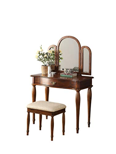 Major-Q 9090206 Traditional Style Dark Hazelnut Finish Trifold Mirror Vanity Set with Padded Stool