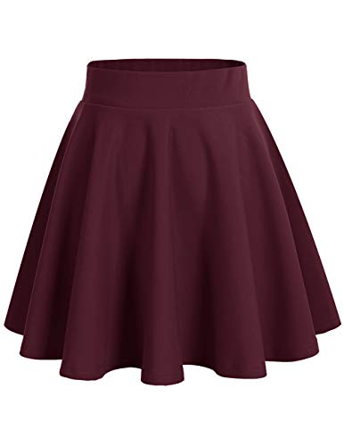 bridesmay Damenrock Basic Solid Vielseitige Dehnbaren Informell Minikleid Retro Mini Rock Faltenrock Burgundy XL