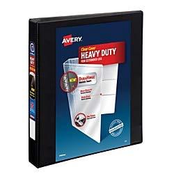 Avery Heavy-Duty View Binder, 1 One-Touch Slant Rings, 220-Sheet Capacity, DuraHinge, Black (79699)