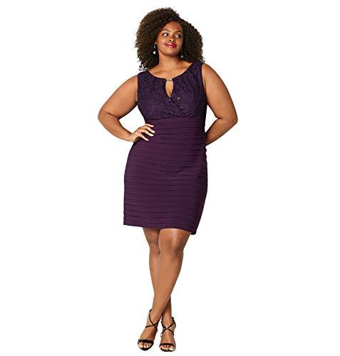 Avenue Women's Lace Bodice Shutter Pleat Dress, 22 Purple