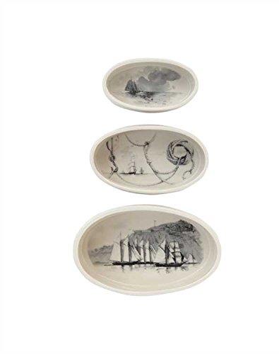 Package of 3 Vintage Ships Stoneware Oval Ramekins - Set Of 3 Pkgs