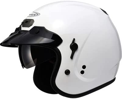 Pearl White//Medium GMAX GM32 with Flip Down Sun Shield Adult Open Face Motorcycle Helmet