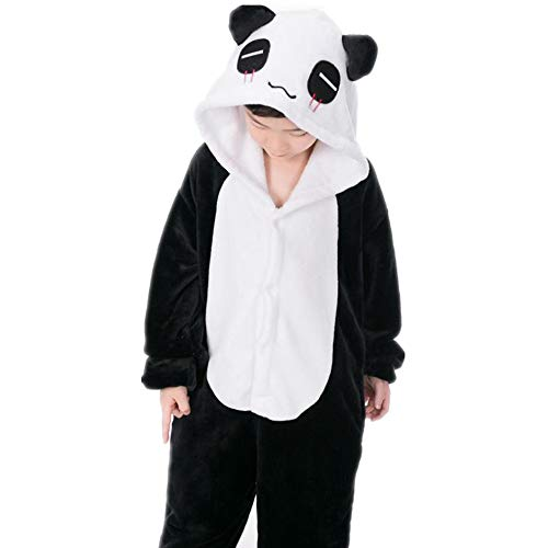 FACOCO Boy Girl Cartoon Pajamas Cute Panda Onesies Christmas Cosplay Onesies Pajamas(Black 100-for Height (90-100cm)