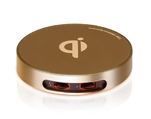 Tabletop Champagne - Channel Well Wireless Charger With 2 USB Port (Champagne)- Table Top for All Qi-Enabled Devices (For iPhone 8/ 8Plus, iPhone X, Samsung S7/S8 and more)