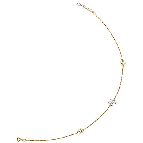 14K Two Tone Gold Polished Flower Station Anklet, 10 11 Inch