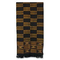 NOVICA Yellow and Black Kente Cotton Patterned Scarf 'Takpekpe Le Anloga,' by NOVICA