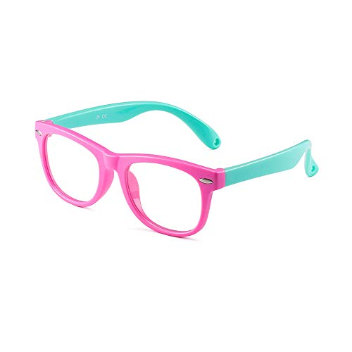 Kids Blue Light Blocking Glasses Children Anti Eyestrain Eyewear for Computer, Phones, TV, Video Gaming Girls Boys Pink Frame Green Temple
