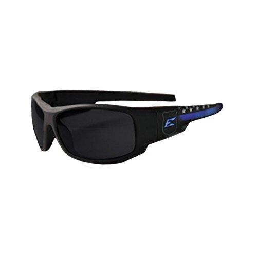 Edge Eyewear Legends Guardian Glasses, Matte Black & Blue Frame/Smoke Vapor Shield - Lens X-line Smoke