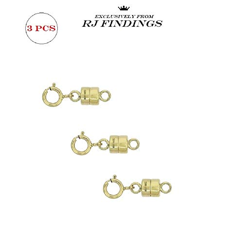 3 Pack-14K Gold Filled 4 mm Magnetic Clasp Converter Extenders for Necklaces Bracelets Anklets with 5.5mm Spring Ring Clasp Made in USA ()