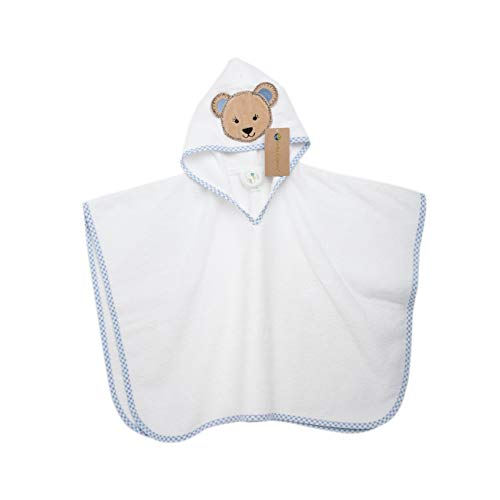 100% Organic Certified Soft Cotton Hooded Terry Cloth Bath Poncho Towel Pink by Bella Colors (Blue)
