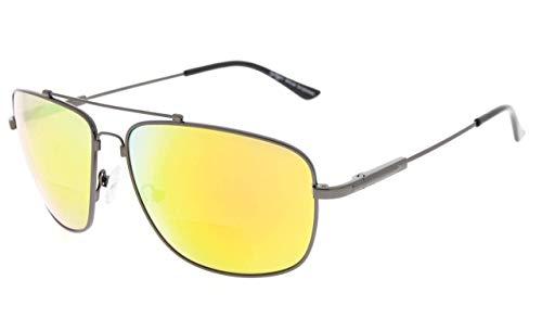 Eyekepper Memory Bifocal Sunglasses Bendable Titanium Reading Sunglasses (Gunmetal Frame Orange Mirror, 3.00)