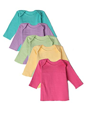 (Best of Chums Baby Infant Long Sleeve Lap Shoulder Tee Multi Color Pack of 5 100% Cotton)
